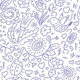 Seamless pattern sketch floral bird Stock Photo