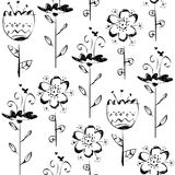 Seamless pattern with sketch flowers in black and white Stock Photo