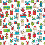Seamless pattern of sketch gifts. Royalty Free Stock Images