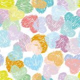Seamless pattern with sketch hearts Pastel color on a white back Royalty Free Stock Image