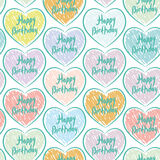 Seamless pattern with sketch hearts on a white background. Happy Stock Photo