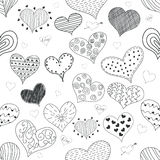 Seamless Pattern Sketch Romantic Love Hearts Retro Doodles Icons Set Valentine s Day  Vector Illustration Stock Photos