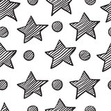 Seamless pattern from sketch star Stock Images