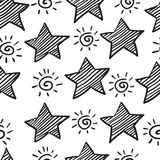 Seamless pattern from sketch star Stock Image