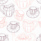 Seamless pattern with sketch style tea service and Royalty Free Stock Photo