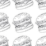 Seamless pattern with sketched burger Stock Photos