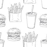 Seamless pattern with sketched burger, french Royalty Free Stock Photography