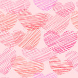 Seamless pattern with sketched hearts Stock Images