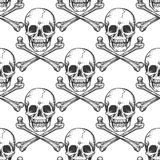 Seamless pattern with sketched skull Royalty Free Stock Photo