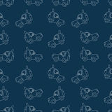 Seamless pattern of sketches of cars. Vector texture stock illustration