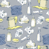 Seamless pattern with sketches of hygiene elements Royalty Free Stock Images