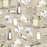 Seamless pattern with sketches of hygiene elements Royalty Free Stock Photo