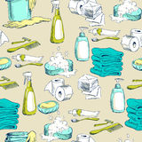 Seamless pattern with sketches of hygiene elements Stock Photos