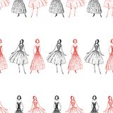 Seamless pattern of sketches of women in evening gowns. Vector background of sketches of fashionable women stock illustration