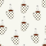 Seamless pattern with sketching dotted cups. Coffee seamless pattern with sketching cups vector illustration