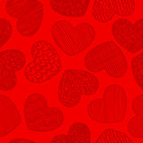 Seamless pattern with sketching hearts red Stock Photos