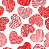 Seamless pattern with sketching hearts Stock Photo