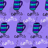 Seamless pattern with sketchy coffee cups Stock Photo