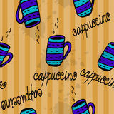 Seamless pattern with sketchy  coffee cups Stock Image