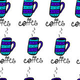 Seamless pattern with sketchy h coffee cups Royalty Free Stock Photo