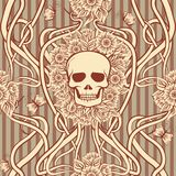 Seamless pattern  with skull in art nouveau style. Vector illustration Royalty Free Stock Photos