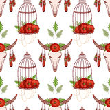 Seamless pattern with skull cow, poppies in cages. Stock Image