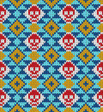 Seamless pattern with skull and ethnic mexican elements. Day of the dead, a traditional holiday in Mexico. For postcard Stock Photo