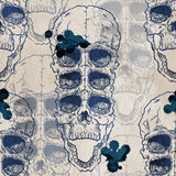 Seamless pattern with skull on grunge background Stock Photos
