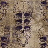 Seamless pattern with skull on grunge background Royalty Free Stock Images