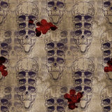 Seamless pattern with skull on grunge background Royalty Free Stock Image