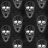 Seamless pattern with skull on grunge background Stock Photo