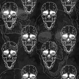 Seamless pattern with skull on grunge background Royalty Free Stock Photos