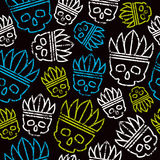 Seamless pattern skull in headdress  redskin Royalty Free Stock Photos