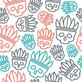 Seamless pattern skull in headdress  redskin Stock Photos