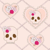 Seamless pattern with skull, heart and roses Stock Photography