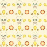 Seamless pattern skull and precious stones vector. Skull and gems, precious stones vector seamless background. Unique and stylish pattern for textile, wallpaper Stock Photo