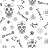 Seamless Pattern with Skull Royalty Free Stock Images