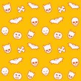 Seamless pattern, skulls, bats, pumpkins, vampires. Halloween seamless pattern with skulls, bats, pumpkins, vampires, eps 10 file, easy to edit Royalty Free Stock Photo