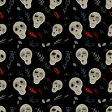 Seamless pattern skulls on a black Royalty Free Stock Photo