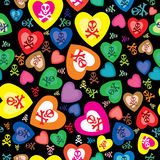 Seamless pattern with skulls, bones and hearts Stock Photos