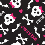 Seamless pattern with skulls, bones and hearts Royalty Free Stock Photo