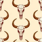 Seamless pattern of skulls bull Stock Photo