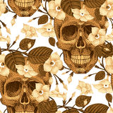 Seamless pattern with skulls and flowers. Royalty Free Stock Photos