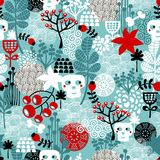 Seamless pattern with skulls and flowers. Stock Image