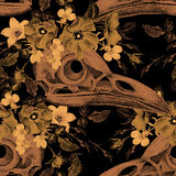 Seamless pattern with skulls and flowers. Stock Photo