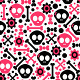 Seamless pattern with skulls Stock Photo