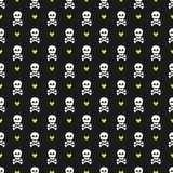 Seamless pattern with skulls and glittering hearts. Stock Image