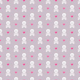 Seamless pattern with skulls and glittering hearts. Royalty Free Stock Photography