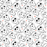 Seamless pattern skulls with hearts Stock Images