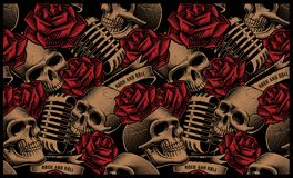 Seamless pattern with skulls, microphones and roses vector illustration